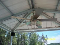 Custom Gazebo on sundeck with fans, misting system, and stereo