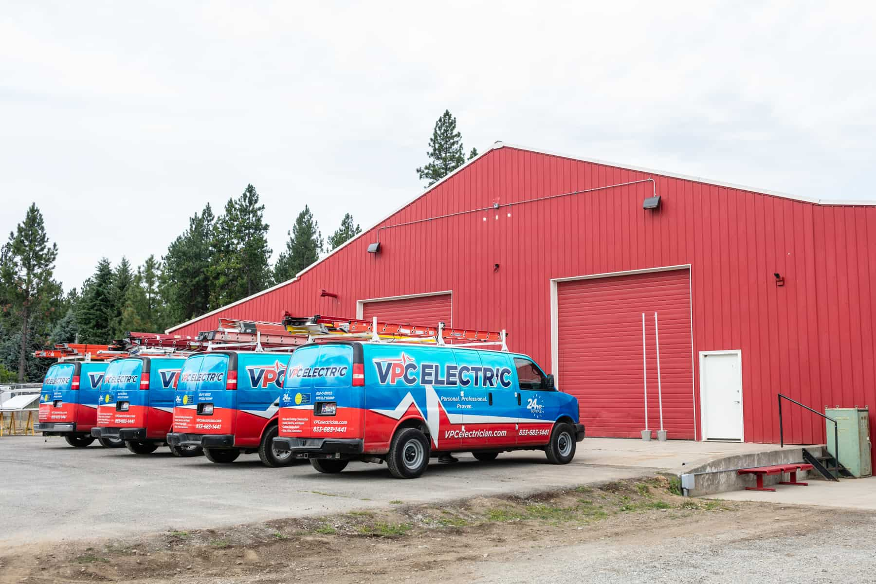 The fleet of residential electrician vans outside of VPC Electrics main office