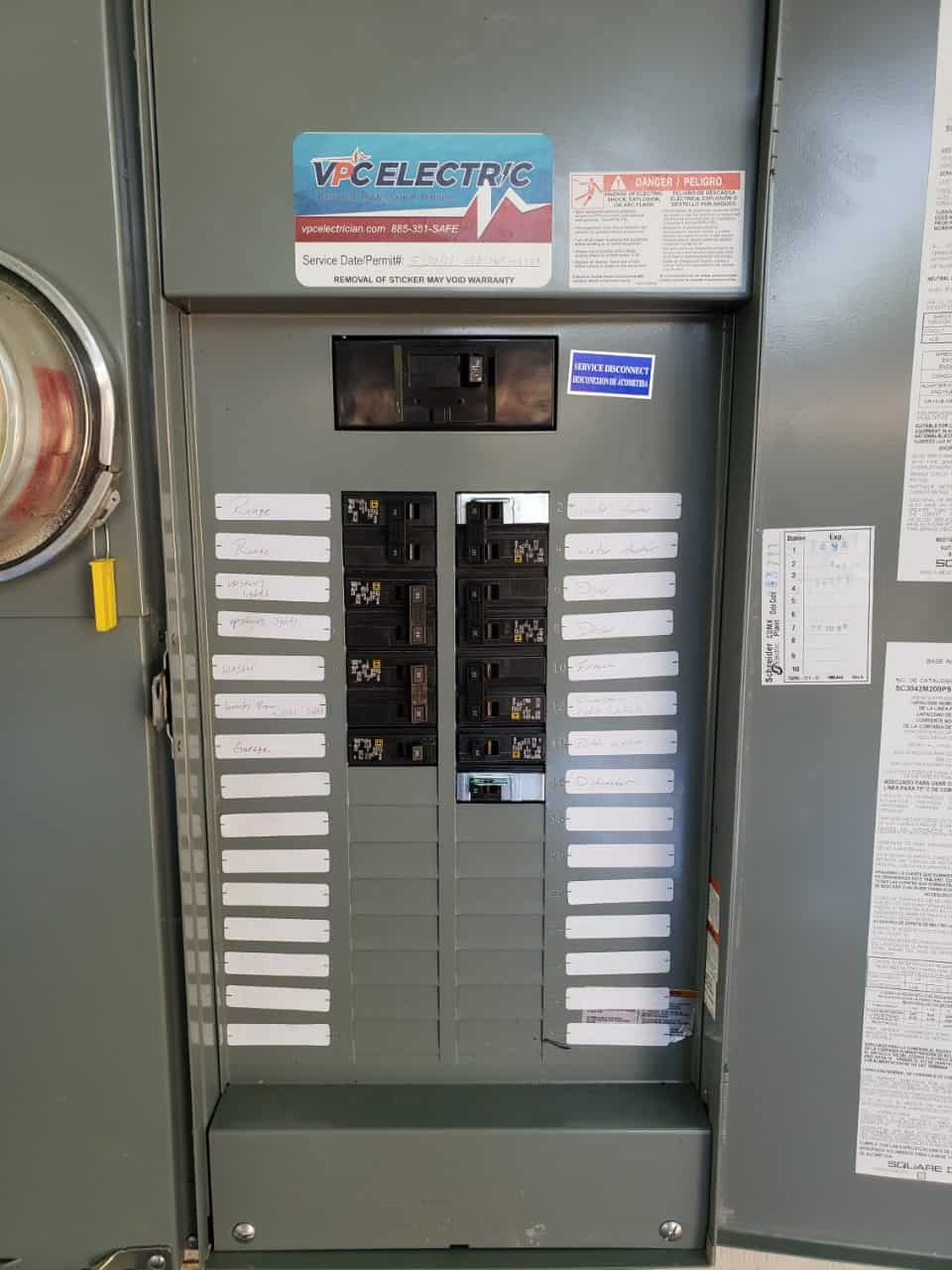 Closed Electrical Panel Installed by VPC Electric