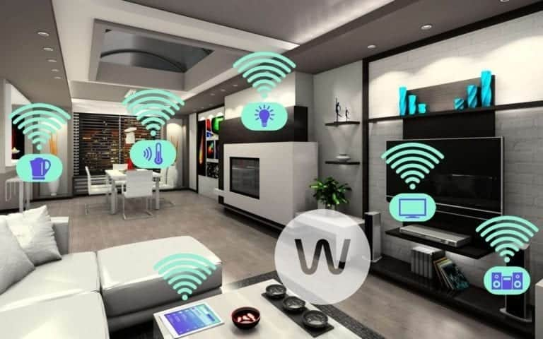 Home automation illustrated by wifi signals coming out of various electronic devices.