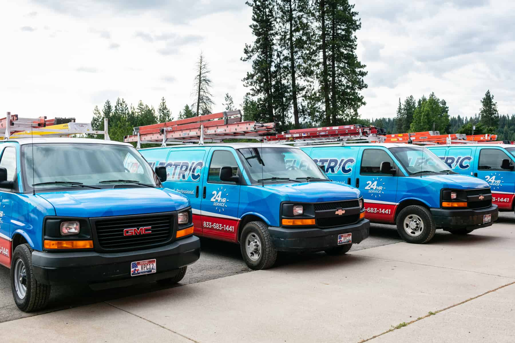 Spokane electrician services_fleet of VPC Electric service vans