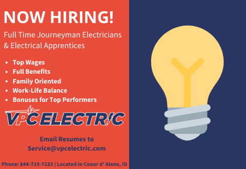 Hiring Journeyman Electricians and electrical apprentices in Spokane