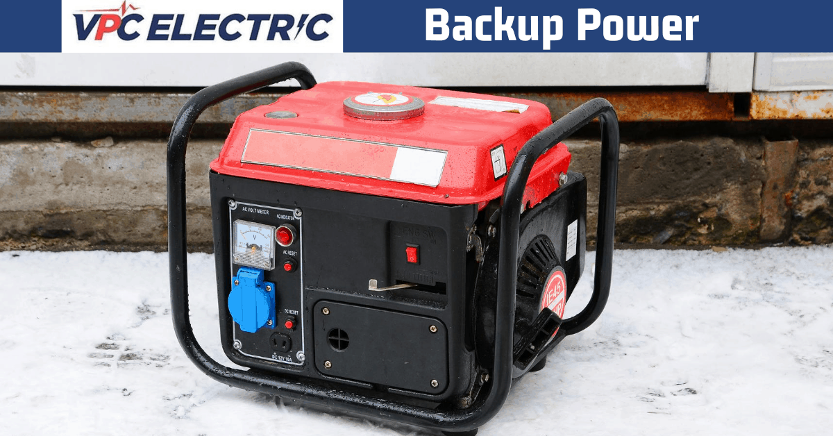 backup power supply article header image of a red and black generator