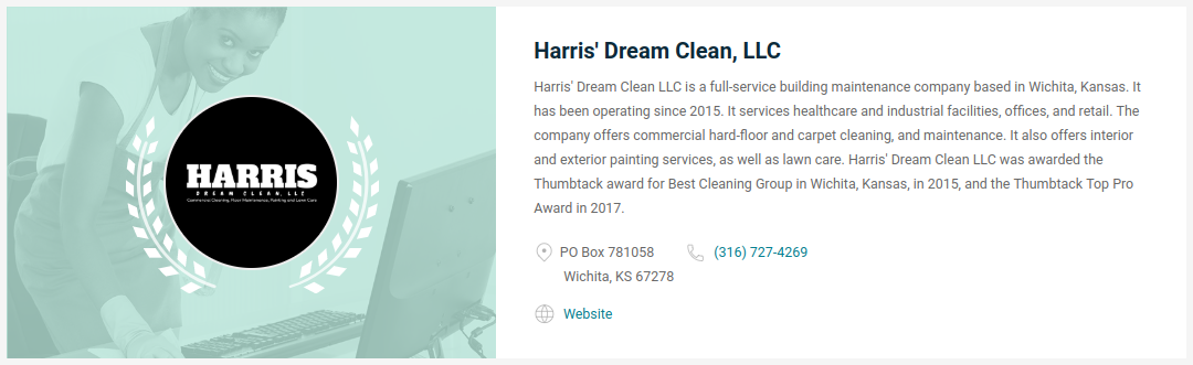 harris dream clean award best cleaning group in wichita