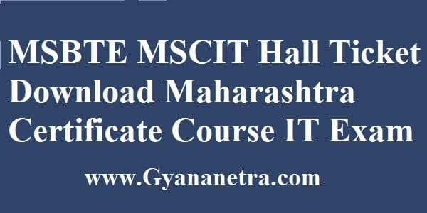 MSBTE MSCIT Hall Ticket Download Online