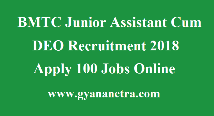 BMTC Junior Assistant Cum DEO Recruitment