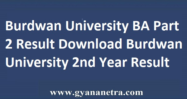Burdwan University BA Part 2 Result