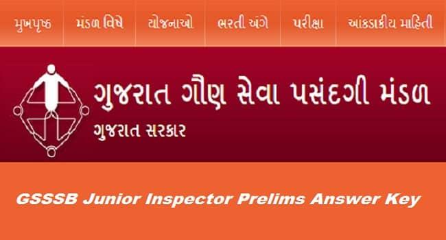 GSSSB Junior Inspector Answer Key