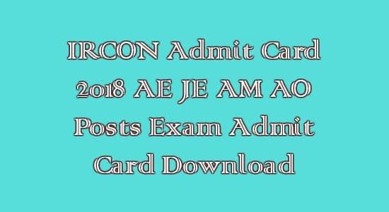 IRCON Admit Card