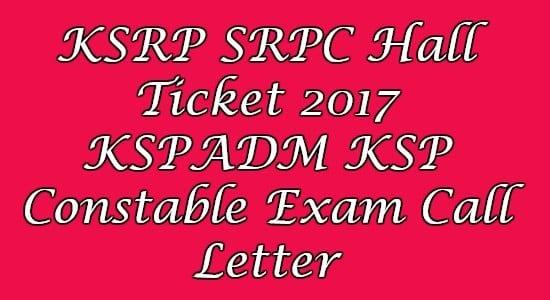 KSRP SRPC Hall Ticket
