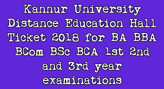 Kannur University Distance Education Hall Ticket