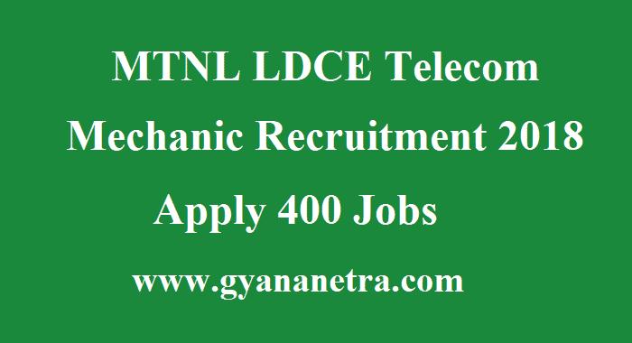 MTNL Telecom Mechanic Recruitment