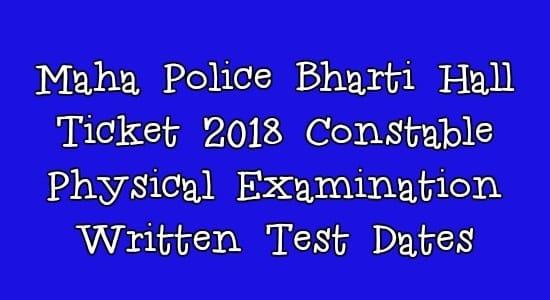 Maha Police Bharti Hall Ticket