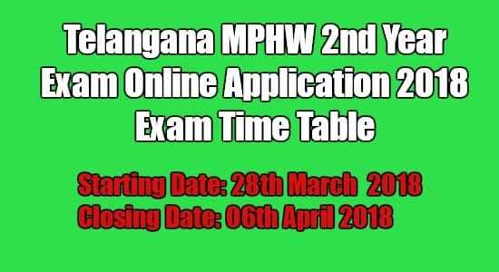 Telangana MPHW 2nd Year Exam Online Application