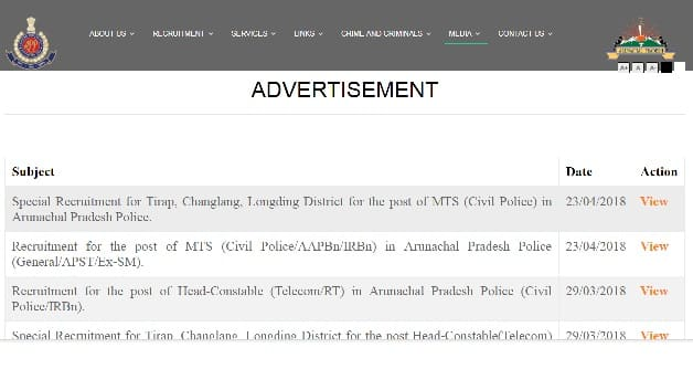 Arunachal Pradesh Police MTS Recruitment 2018