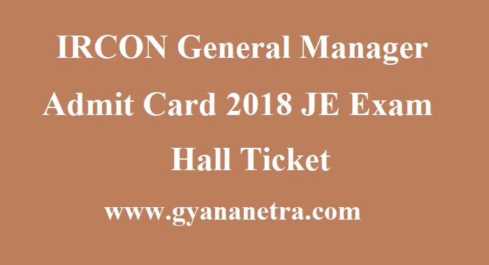 IRCON General Manager Admit Card