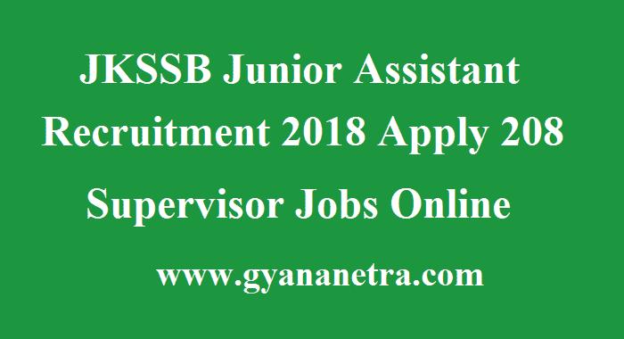 JKSSB Junior Assistant Recruitment