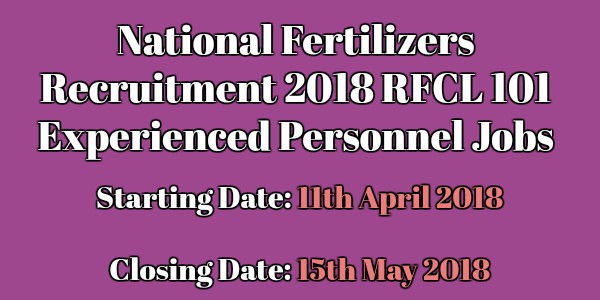 national Fertilizers Recruitment 2018