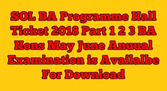 SOL BA Programme Hall Ticket