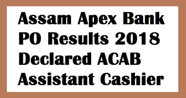 Assam Apex Bank PO Results