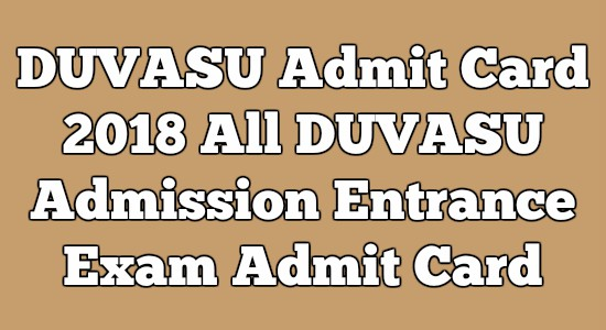 DUVASU Admit Card
