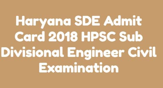 Haryana SDE Admit Card
