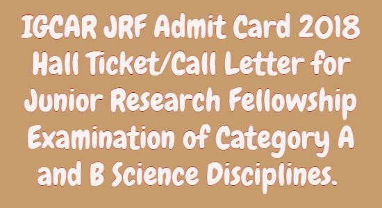 IGCAR JRF Admit Card