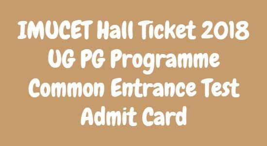 IMUCET Hall Ticket