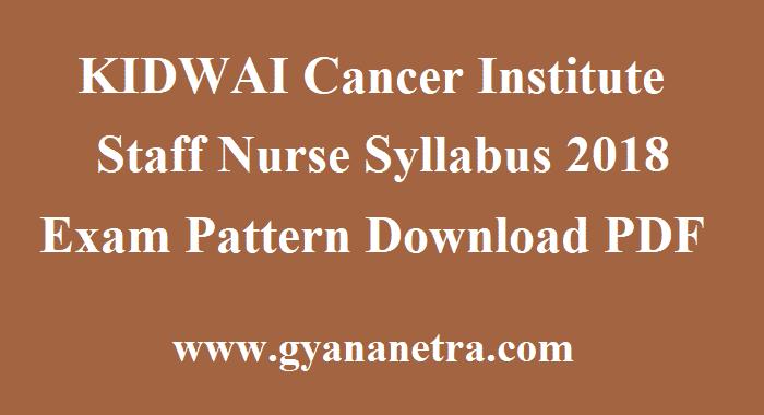 KIDWAI Cancer Institute Staff Nurse Syllabus