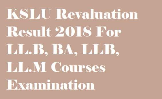 KSLU Revaluation Results 2018