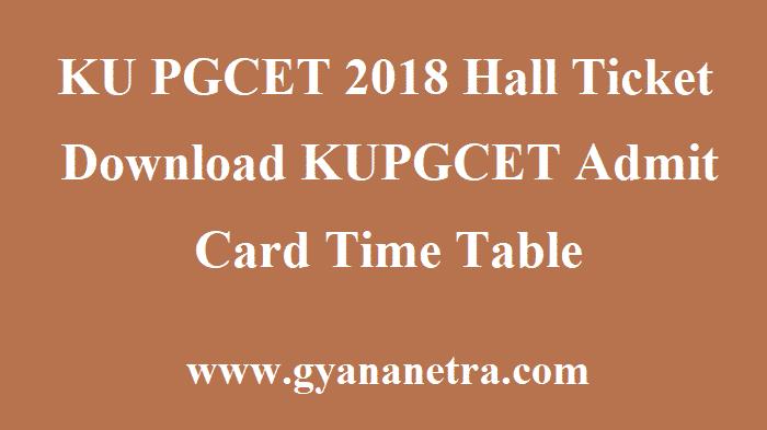 KU PGCET 2018 Hall Ticket
