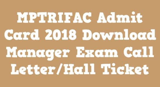 MPTRIFAC Admit Card