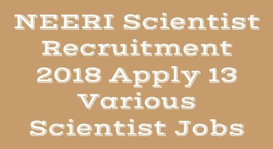 NEERI Scientist Recruitment 2018