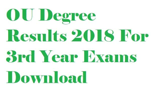 Manabadi OU Degree 3rd Year Results March 2018
