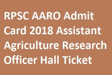 RPSC AARO Admit Card 2018