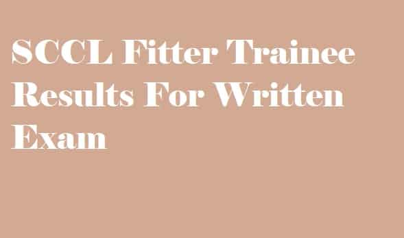 SCCL Fitter Trainee Results