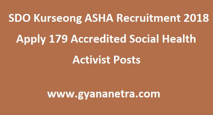 SDO Kurseong ASHA Recruitment