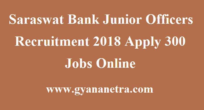 Saraswat Bank Junior Officers Recruitment