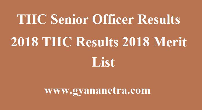 TIIC Senior Officer Results