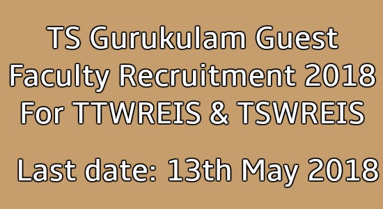 TS Gurukulam Guest Faculty Recruitment