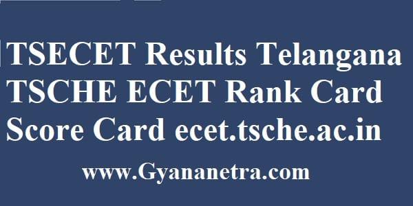 TSECET Results Telangana TSCHE ECET Rank Card