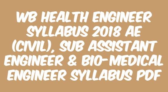 WB Health Engineer Syllabus