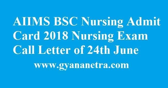 AIIMS BSC Nursing Admit Card