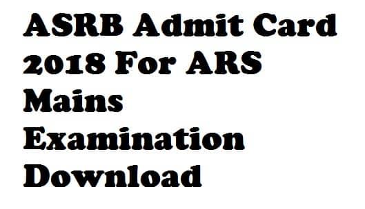 ASRB ARS Admit Card 2017