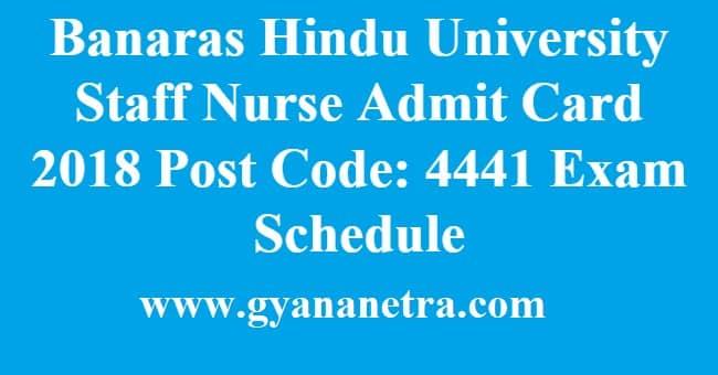 BHU Staff Nurse Admit Card