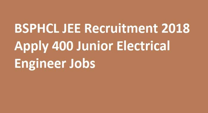 BSPHCL JEE Recruitment 2018
