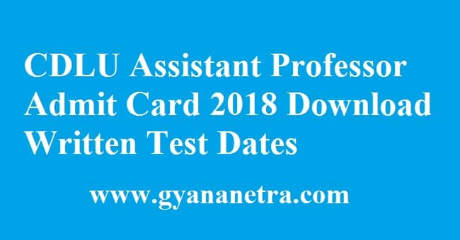CDLU Assistant Professor Admit Card