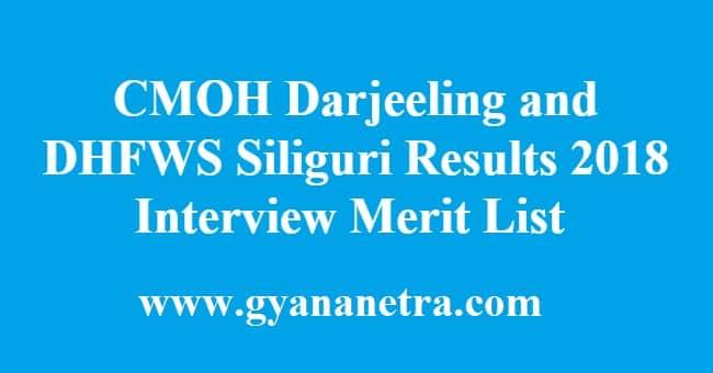 CMOH Darjeeling and DHFWS Siliguri Results