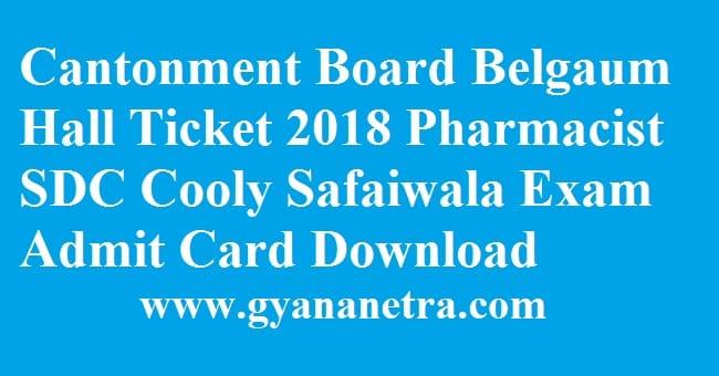 Cantonment Board Belgaum Hall Ticket