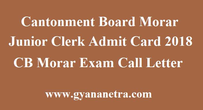 Cantonment Board Morar Junior Clerk Admit Card